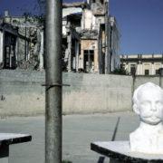 Havana, CUBA. 2001. Bust of Marti in schoolyard.