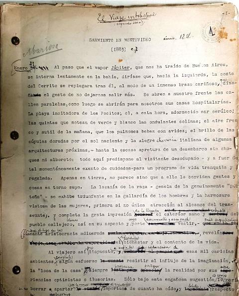 Borrador mecanografiado con anotaciones manuscritas de Sarmiento en Montevideo (fondo Paul Groussac, Archivo General de la Nación)