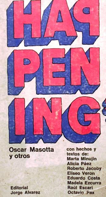 """Tapa del libro """"Happenings"""", compilado por Oscar Masotta para la editorial Jorge Álvarez (1967)."""