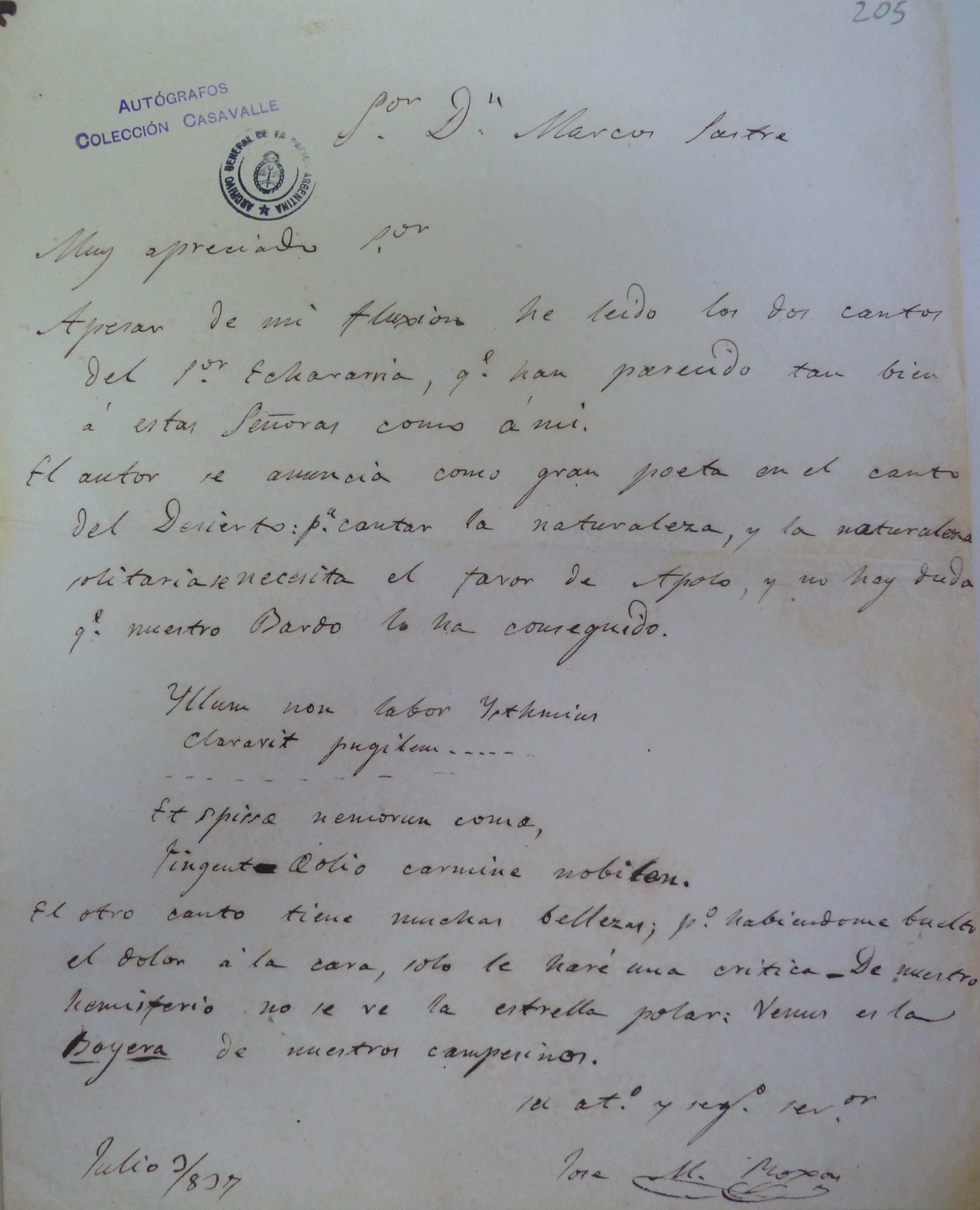 Carta de Rojas a Sastre