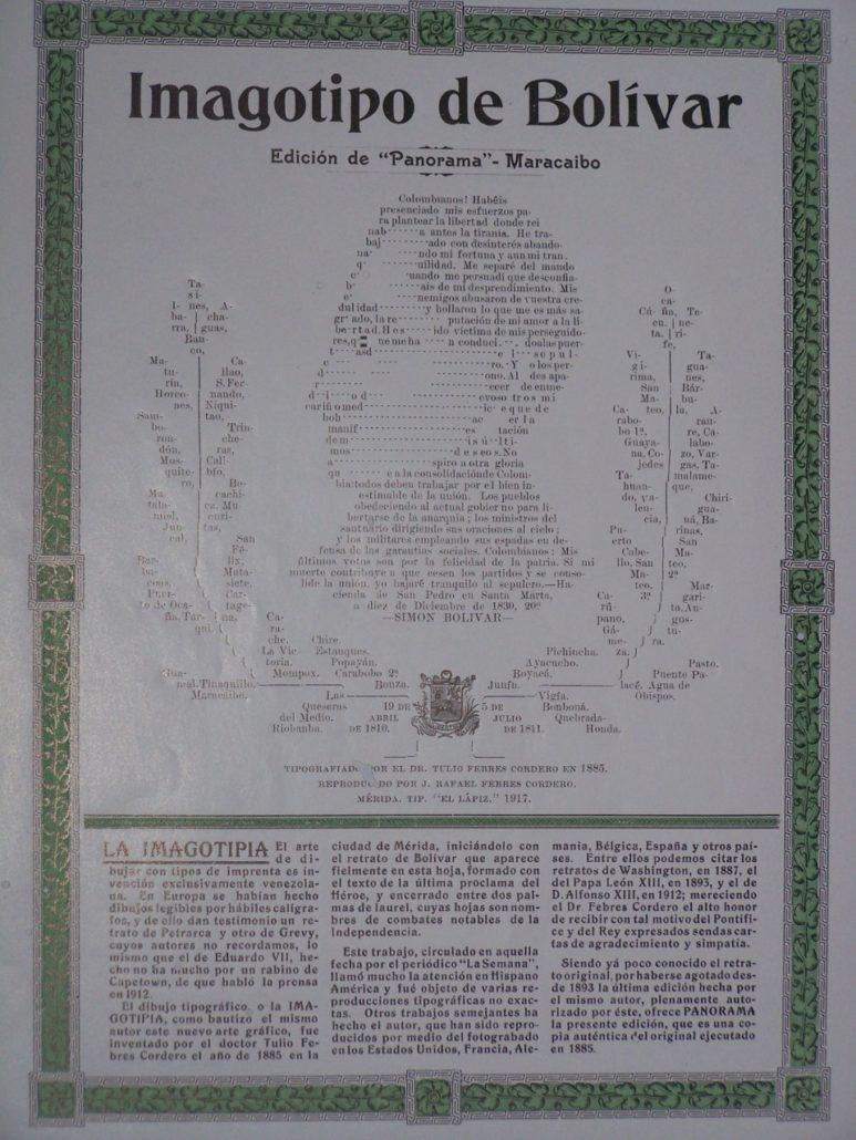 Primer imagotipo de Bolívar, de Tulio Febres Cordero.