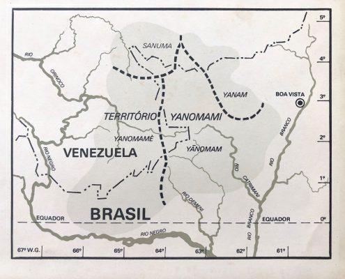 Mapa del Territorio Yanomami en el libro Yanomami: frente ao eterno (1978) — Cortesía de Roberto Cecato.